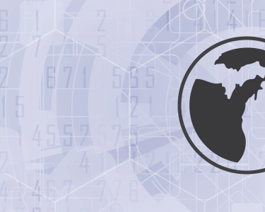 A black circular outline of Michigan against a light gray geometric background.