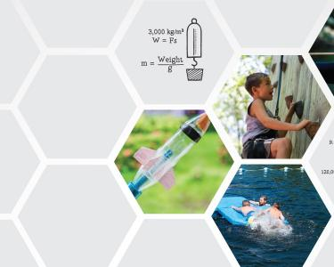 A bottle rocket, children on a lake raft and a climbing wall, and a bow and arrow surrounded by math equations.