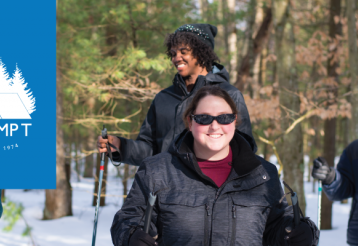 A group of five teens snowshoeing in a wintry forest. A Camp T logo is placed over the image.