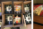 Five-image collage of kits being assembled for Family Nature Club, including materials for science experiments and bundled fabric for a blanket-making craft.