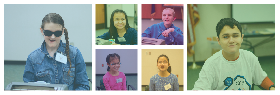 Six-image collage of students smiling at the camera at previous Michigan Braille Challenge competitions.