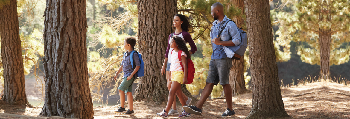 A man, woman, and two children smile as they walk through a forest on a sunny day.