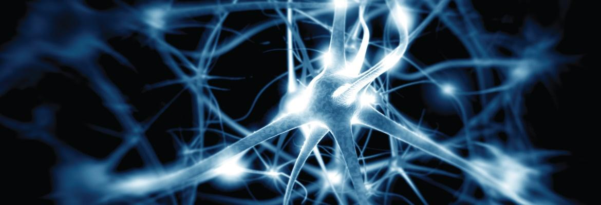 Illustrated closeup of blue and white neurons against a black background.