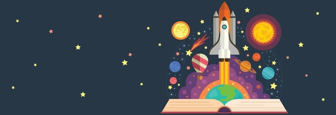 Illustration of a space shuttle taking off from an open book. The shuttle is surrounded by stars, planets, and a hot air balloon.