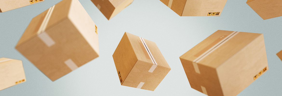 Beige shipping boxes are suspended in midair against a gray background.