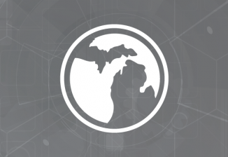 A white circular outline of Michigan against a gray geometric background.