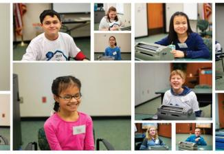 Collage of 16 students who competed in Braille Challenge 2019. All are smiling at the camera.