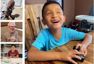 Collage of ten smiling children in elementary through high school as they complete nature-themed activities at home.