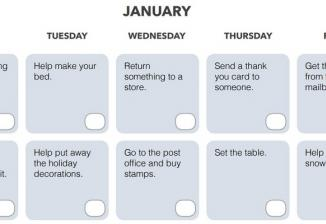 A January calendar showing the first two weeks with weekdays only. A task is written for each day, such as