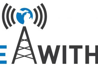 LIVE With LIO logo, including an illustration of a radio tower. On top of the tower is a circular blue and white outline of Michigan surrounded by radio waves.