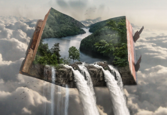 Waterfall and forest within a book
