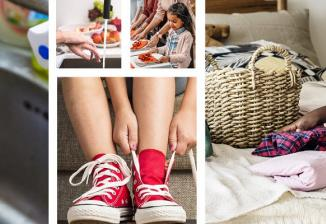 Eight images showing children practicing various skills, including washing dishes, folding laundry, and lacing up shoes.