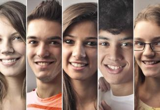 Profile photos of nine smiling teenagers.