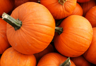 A pile of bright orange pumpkins.